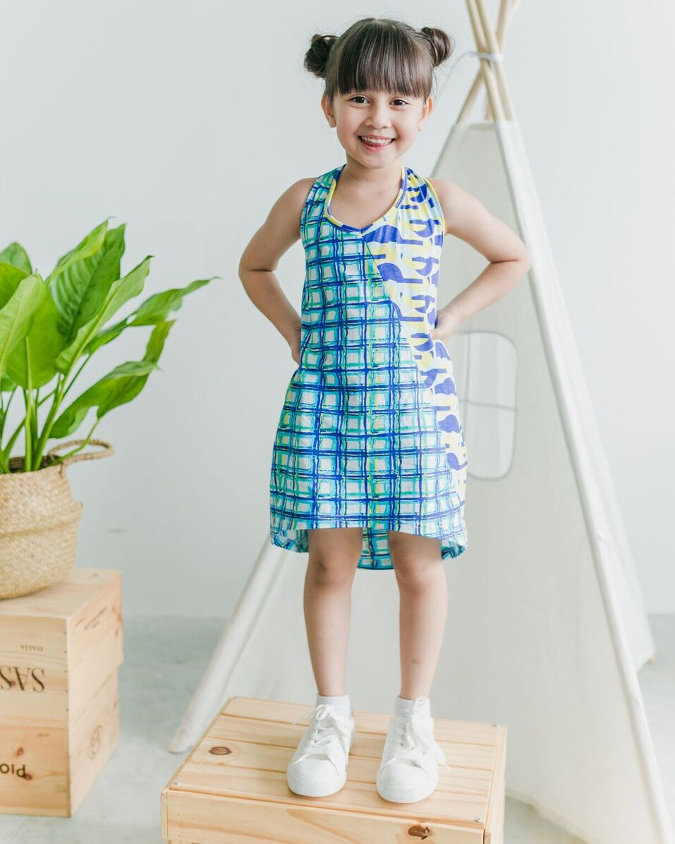 Geo Check Vest Dress - Roses & Rhinos