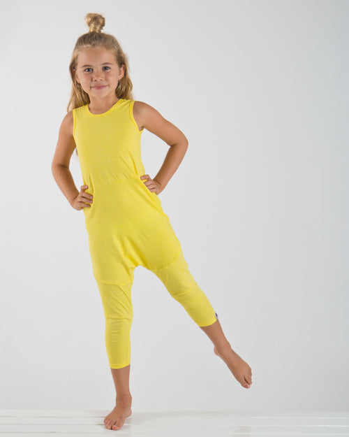 Yellow Stripe Drop Crotch Jumpsuit