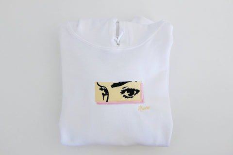 Her Eyes Embroidered Hoodie [White] - Truce Apparel
