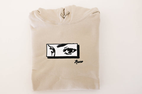 Her Eyes Embroidered Hoodie [Cream] - Truce Apparel