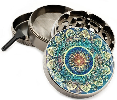 Blue Mandala Herb Grinder 4 Part Grinder