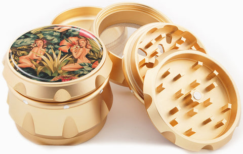 Jungle Girl Gold Herb Grinder - Pin Up Girl