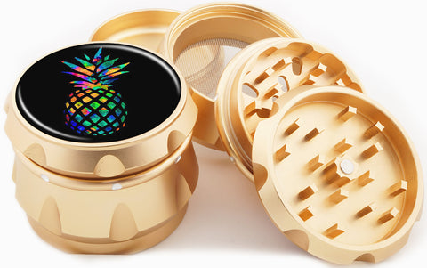 Rainbow Pineapple Gold 4 Piece Grinder