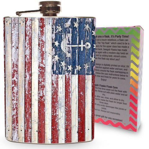 Nautical American Flag Flask Stainless Steel 8oz Hip Flask