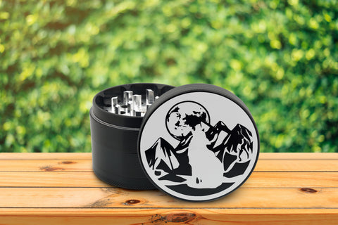 "Wolf Howling Herb Grinder Black Laser Engraved Grinders 2.5"" 4 Part Aerospace Aluminum Metal Etched White Moon Mountain Design Gift Box"