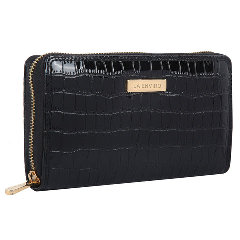 LA ENVIRO NIA SINGLE ZIPPER WALLET BLACK