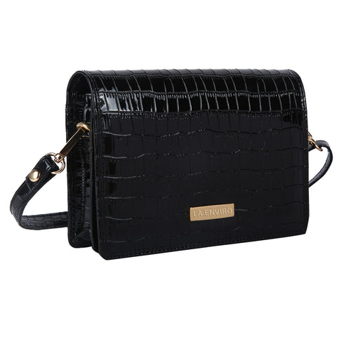 LA ENVIRO ZUMI CROSSBODY HANDBAG BLACK