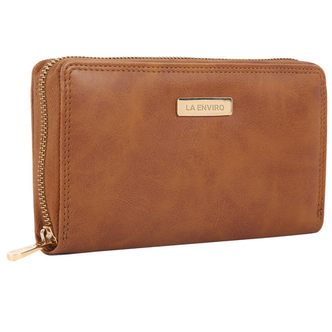 LA ENVIRO NIA SINGLE ZIPPER WALLET TAN