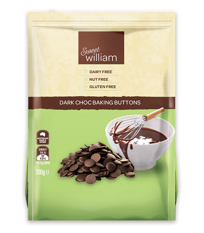 SWEET WILLIAM DARK CHOC BAKING BUTTONS
