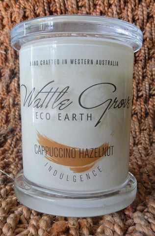 WATTLE GROVE CANDLE CAPPUCINO HAZELNUT MEDIUM