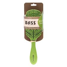 BASS BAMBOO ECO-FLEX DETANGLER HAIR BRUSH GREEN