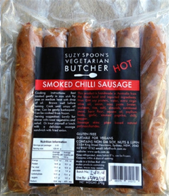 SUZY SPOON'S GF SMOKED CHILLI SAUSAGES (6pk)
