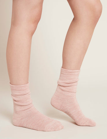 BOODY WOMEN'S CHUNKY BED SOCKS DUSTY PINK/ WHITE SPACE