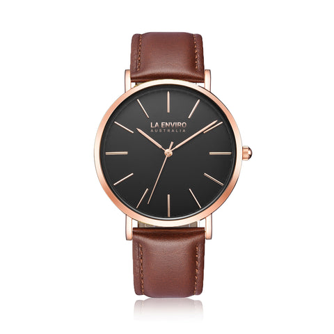 LA ENVIRO WATCH BROWN VEGAN LEATHER - ROSE GOLD