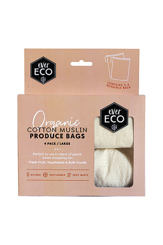 EVER ECO REUSABLE ORGANIC COTTON MUSLIN PRODUCE BAGS - 4 PACK
