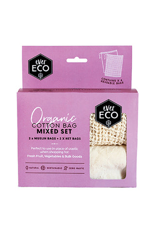 EVER ECO REUSABLE ORGANIC COTTON MUSLIN & NET PRODUCE BAGS - MIXED 4 PACK