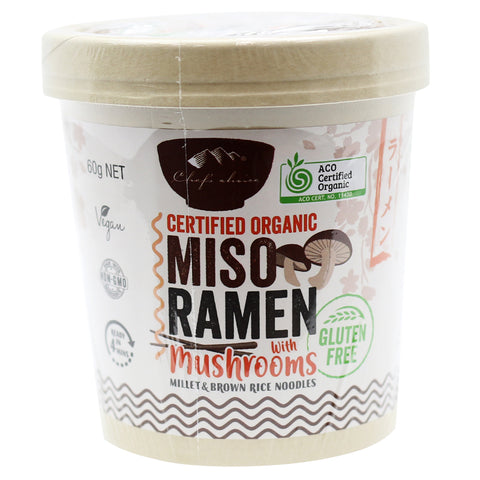 CHEF'S CHOICE GLUTEN FREE MISO RAMEN WITH MUSHROOMS 60g