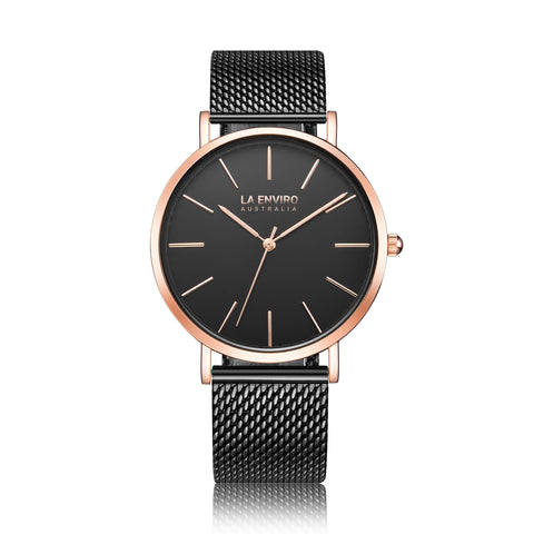 LA ENVIRO WATCH BLACK STAINLESS STEEL MESH
