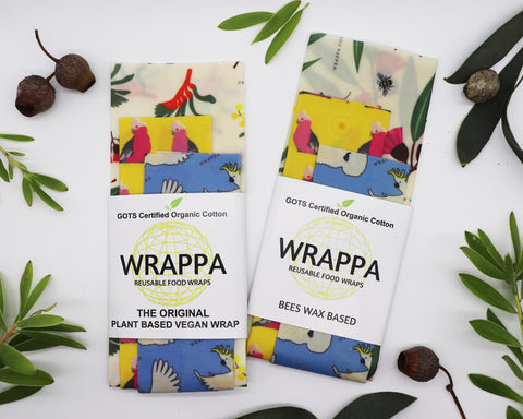 WRAPPA VEGAN REUSABLE FOOD WRAPS BIRDS AND BEES 3 PACK