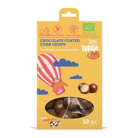 SUPER FUDGIO CHOCOLATE COATED CORN CRISPS