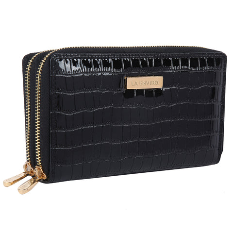 LA ENVIRO ESME DOUBLE ZIPPER WALLET BLACK