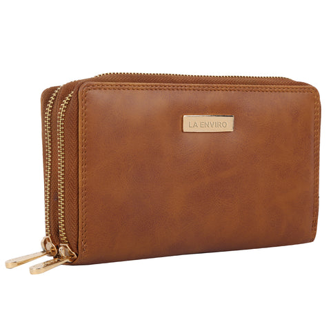 LA ENVIRO ESME DOUBLE ZIPPER WALLET TAN