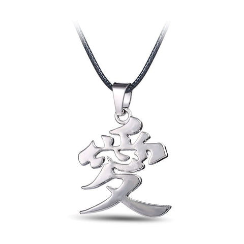 Naruto Necklace - Gaara Love Silver Pendant - AnimeBling - 1