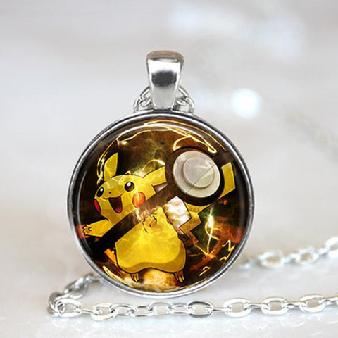 Pokemon Glass Dome Necklace - Pikachu - AnimeBling - 1