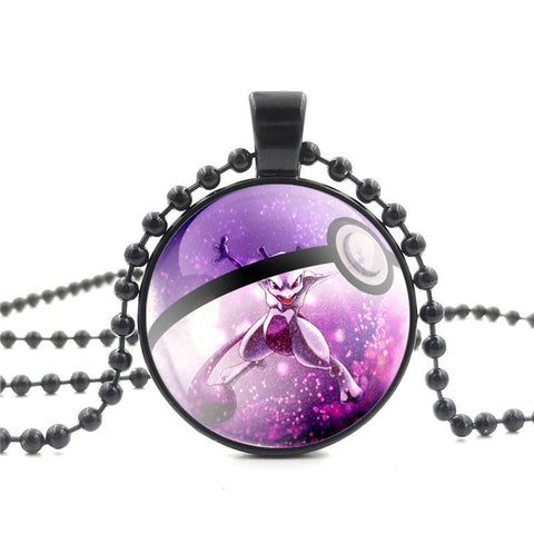 Pokemon Glass Dome Necklace - Mewtwo - AnimeBling - 1