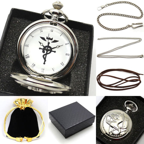 Fullmetal Alchemist Pocket Watch - Silver Set with Gift Box - AnimeBling - 1