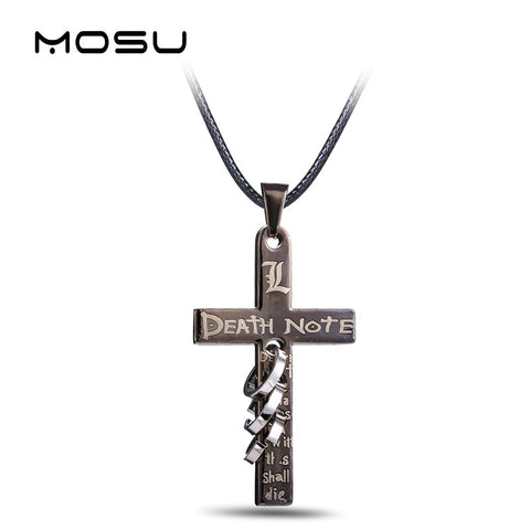 Death Note Necklace - Black Gold Cross Pendant - AnimeBling - 1