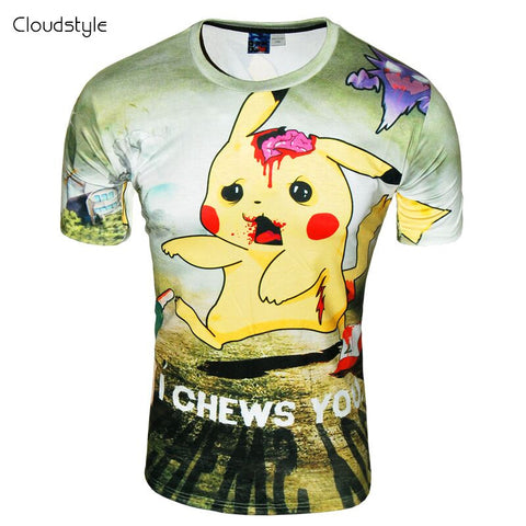 Pokemon T Shirt - Pikachu Zombie I Chews You - AnimeBling - 1
