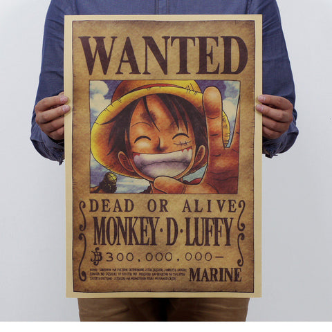 One piece wanted poster decor wall stickers animebling - One piece wanted poster ...