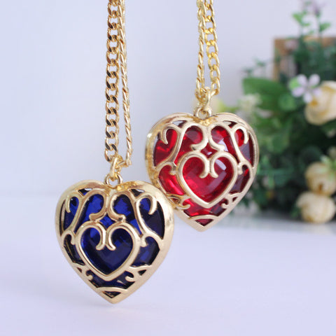 Legend of Zelda Heart Container Necklace - Red/Blue Color - AnimeBling - 1