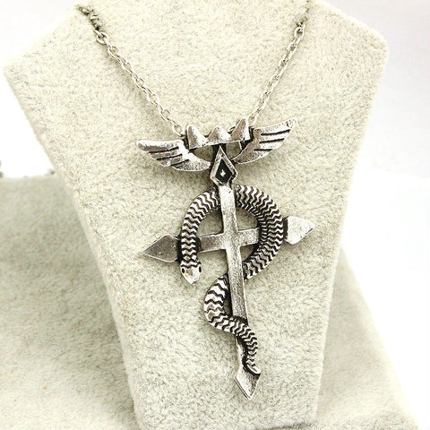 Fullmetal Alchemist Necklace - Snake Cross Logo - AnimeBling - 1