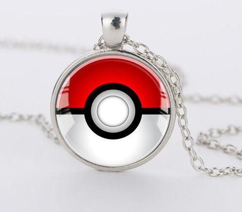 Pokemon Glass Dome Pendant - Pokeball Necklace - AnimeBling - 1