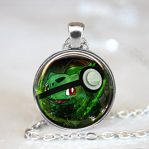 Pokemon Glass Dome Necklace - Bulbasaur - AnimeBling - 1