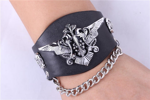 Black Butler Bracelet - Leather Punk Phantomhive Crest - AnimeBling - 1