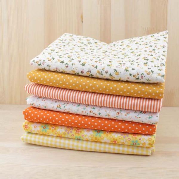Assortiment de 7 coupons - Tons jaune-orange - 100x100