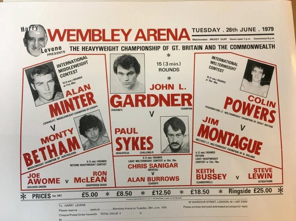 Paul Sykes Vs John L Gardner Reproduction Fight Poster (Wembley 26th June 1979)