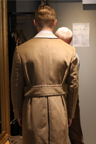 Polo Coat back second fitting Robin Pettersson Tailor Bntailor overcoat