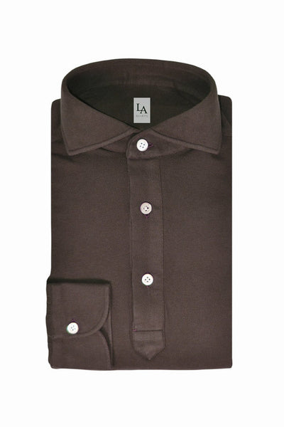 Long Sleeved Friday Polo Shirt - Brown - The Bespoke Shop