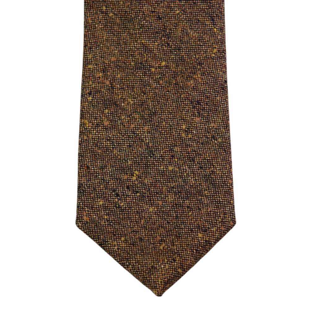 Mid. Brown Donegal Wool Tweed Tie - The Bespoke Shop