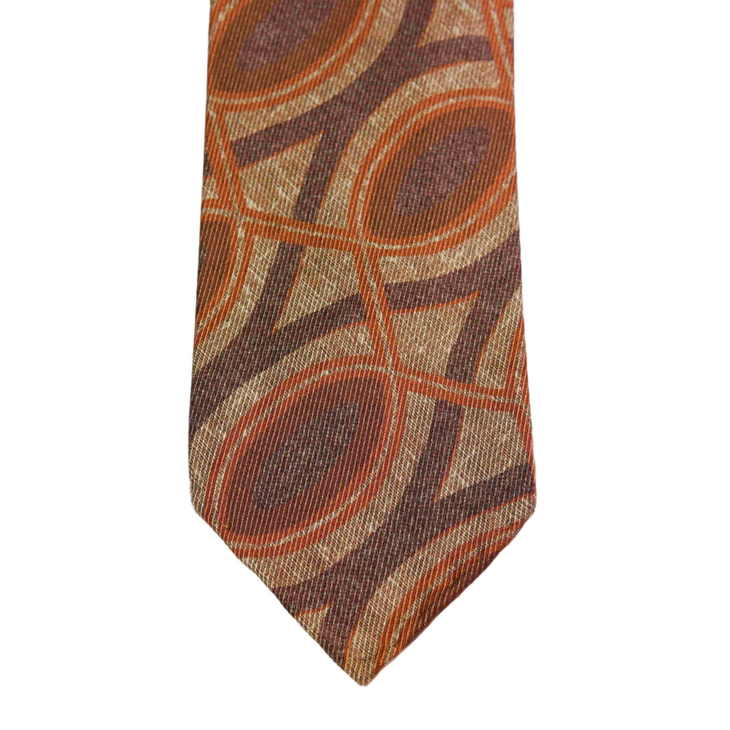 Brown Vintage Print Silk Tie Untipped - The Bespoke Shop