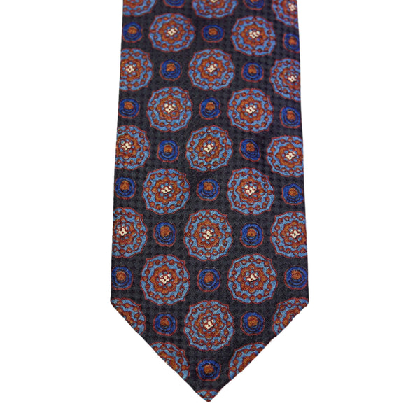 Navy Jacquard Floral Silk Tie - The Bespoke Shop
