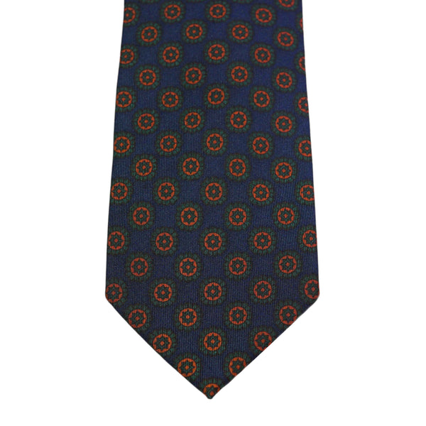 Blue Floral Twill Silk Tie Self-tipped