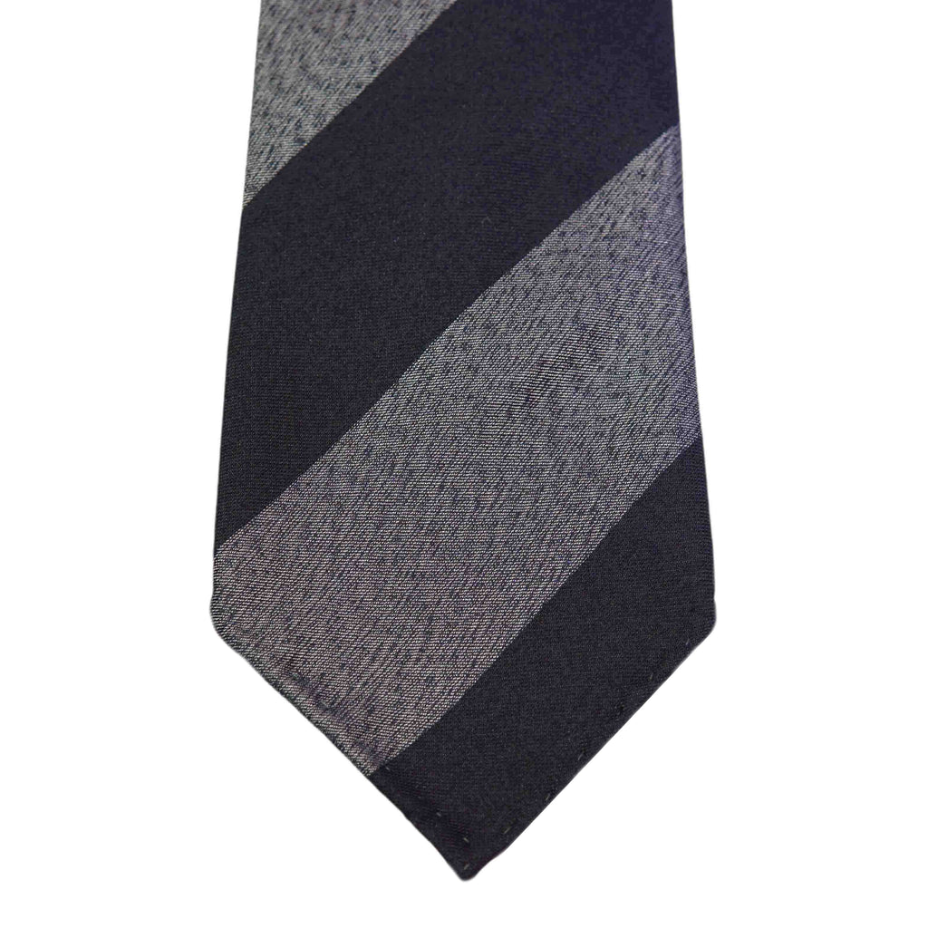 Navy/Grey Regimental Silk Tie Untipped - The Bespoke Shop