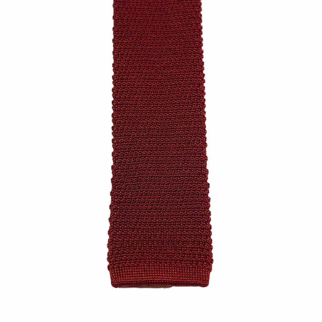 Dark Red Knitted Silk Tie - The Bespoke Shop