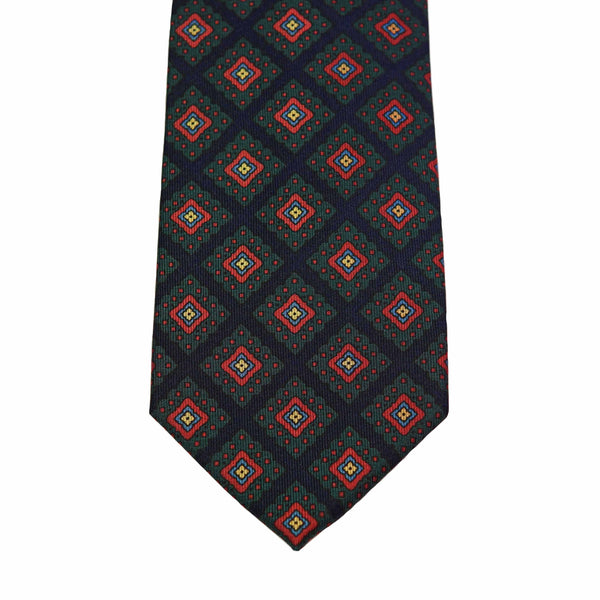 Navy Medallion Madder Tie Selftipped - The Bespoke Shop