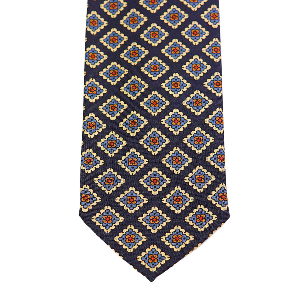 Navy Medallion Madder Tie Untipped - The Bespoke Shop
